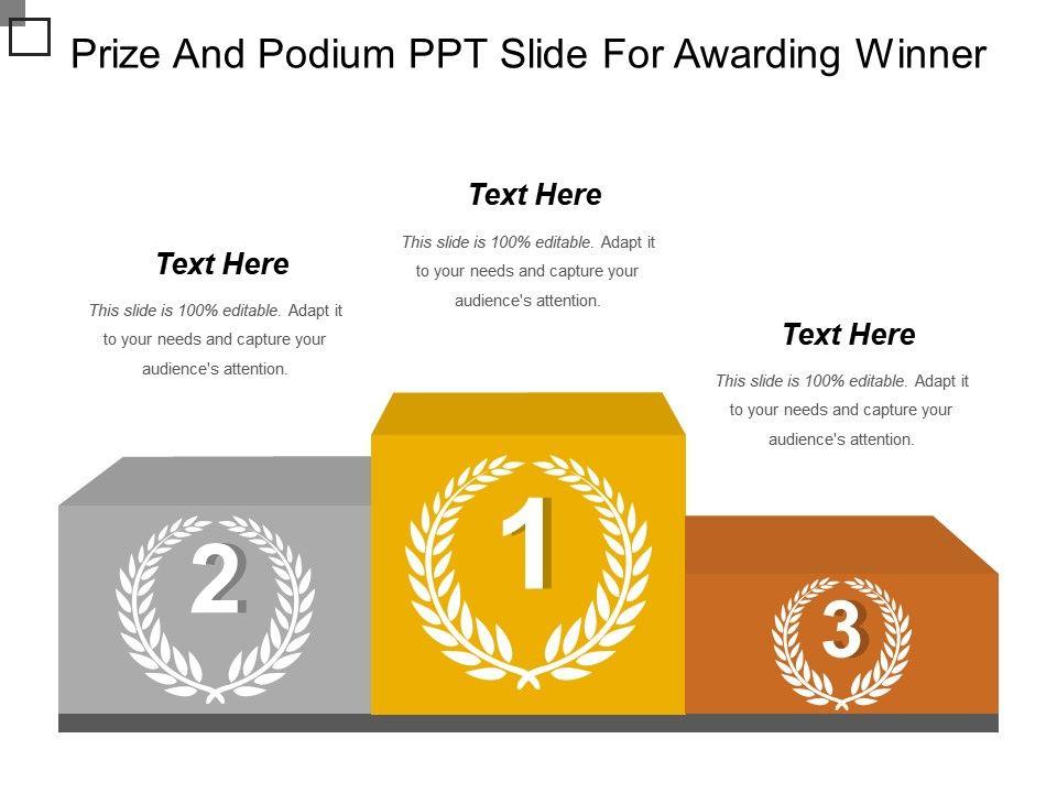 Prize And Podium Ppt Slide For Awarding Winner Ppt