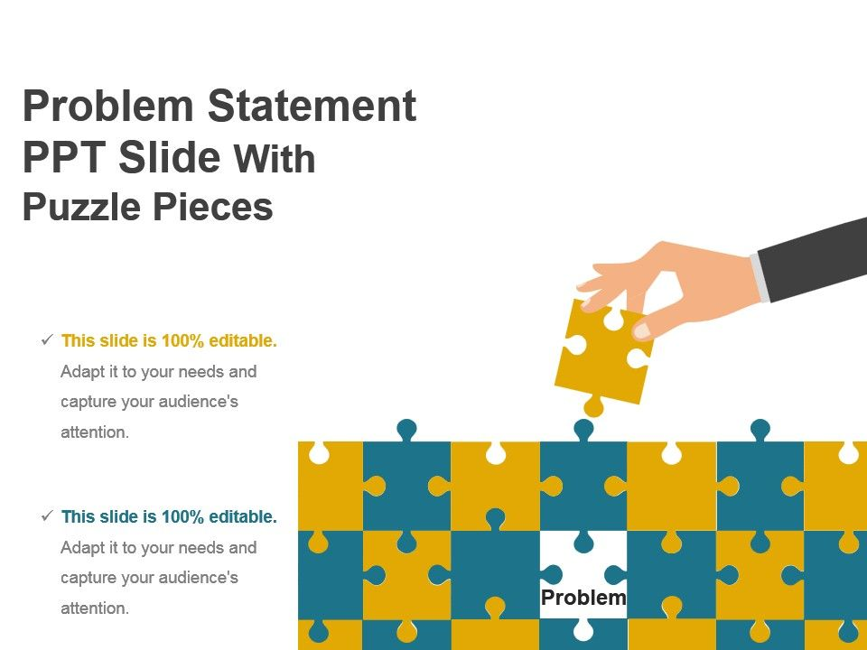 problem statement ppt slide with puzzle pieces presentation design, Modern powerpoint