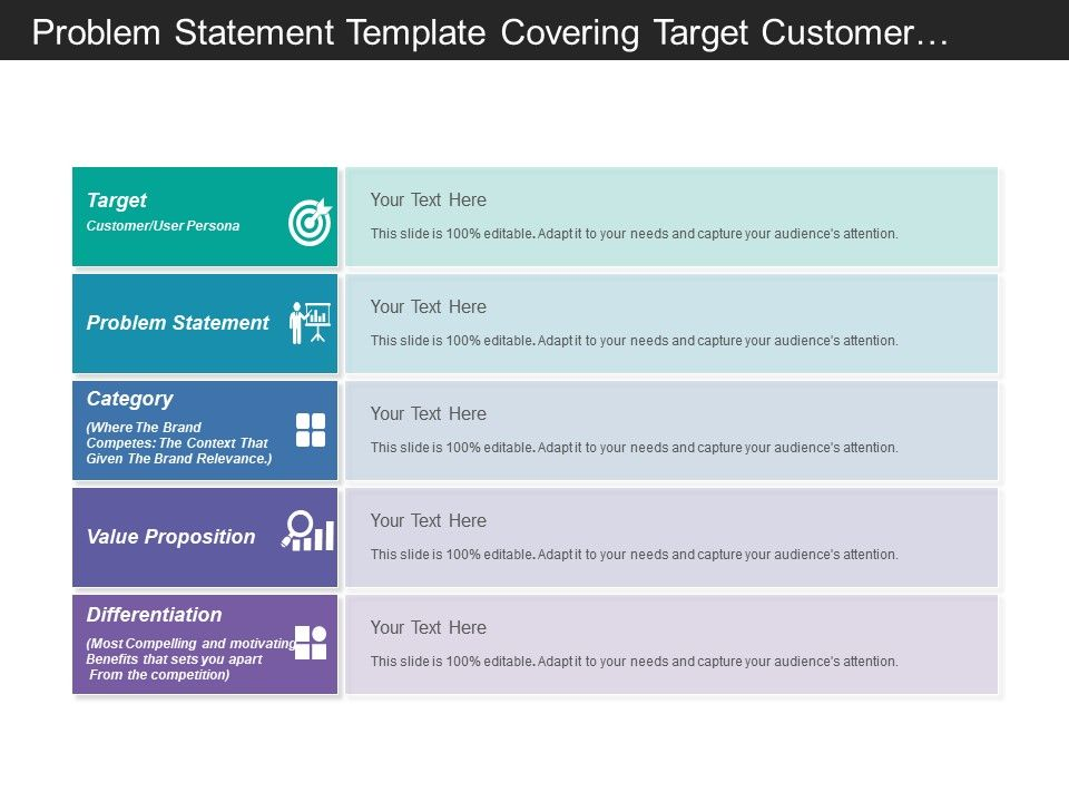 Problem Statement Template Covering Target Customer And Value ...