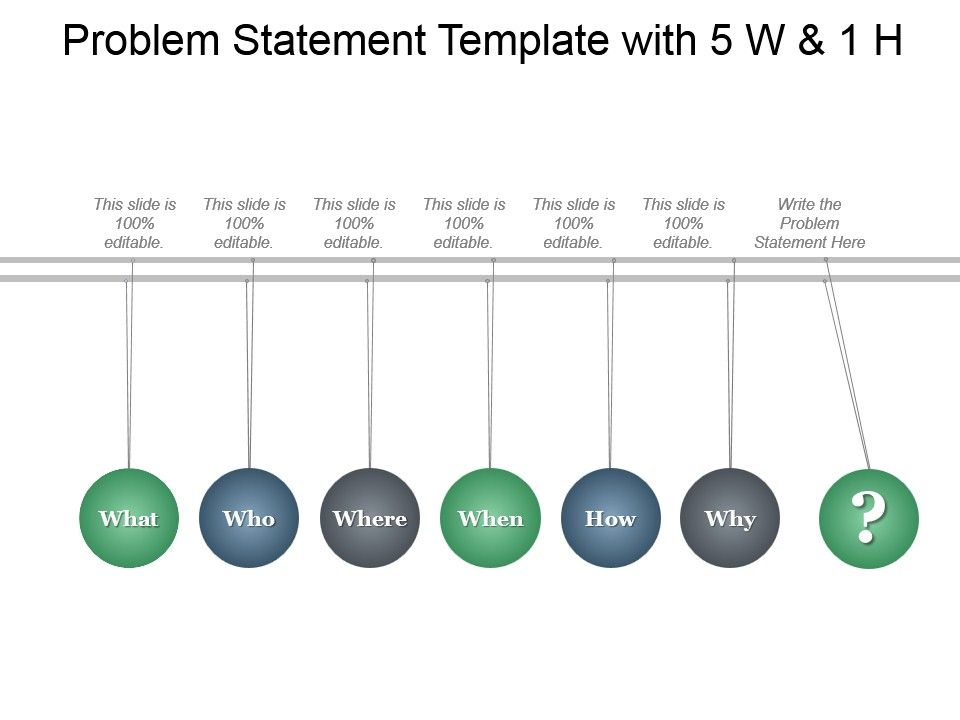 problem statement template with 5 w and 1 h ppt infographics, Modern powerpoint