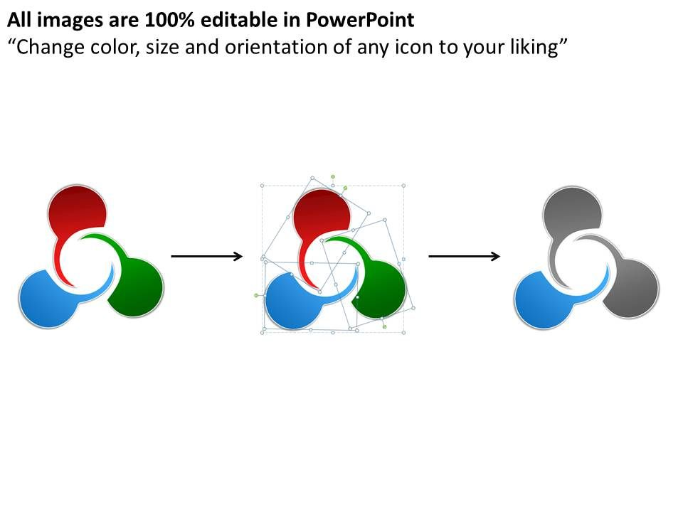 Process Circle Diagram 3 Stages Powerpoint Templates