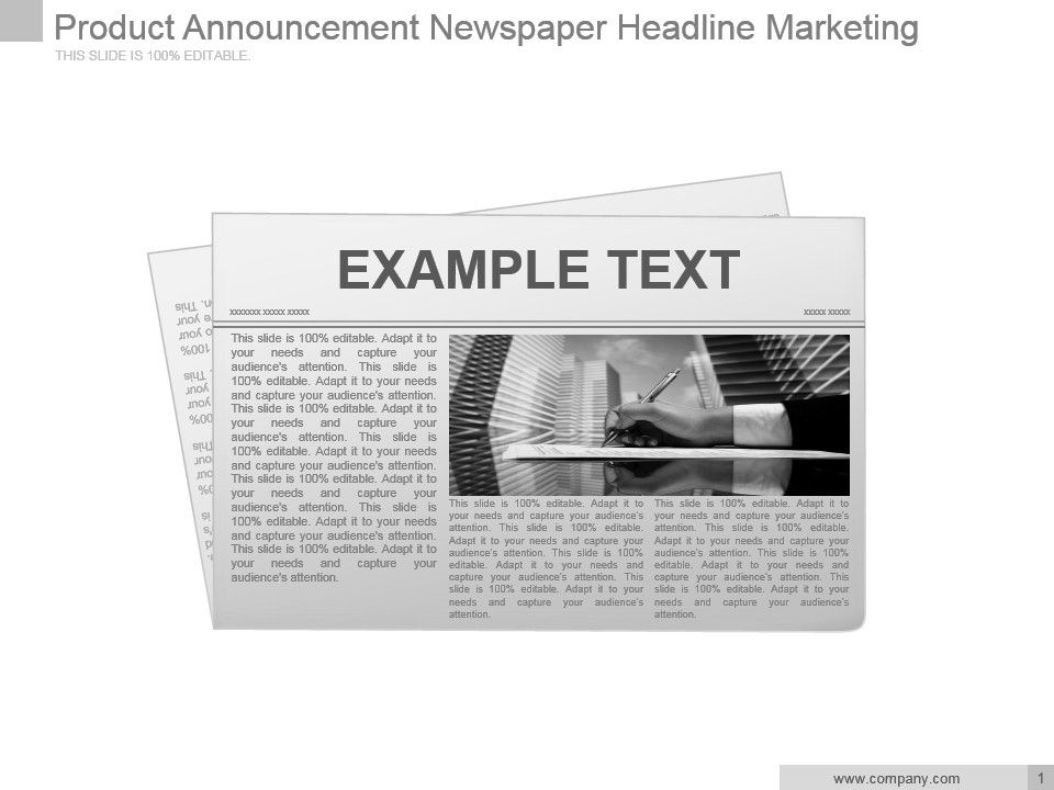 Product Announcement Newspaper Headline Marketing Powerpoint