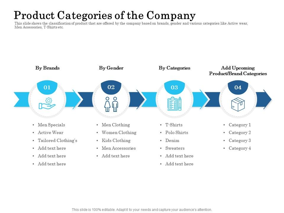 Product Categories Of The Company Ppt Powerpoint Presentation Outline Topics