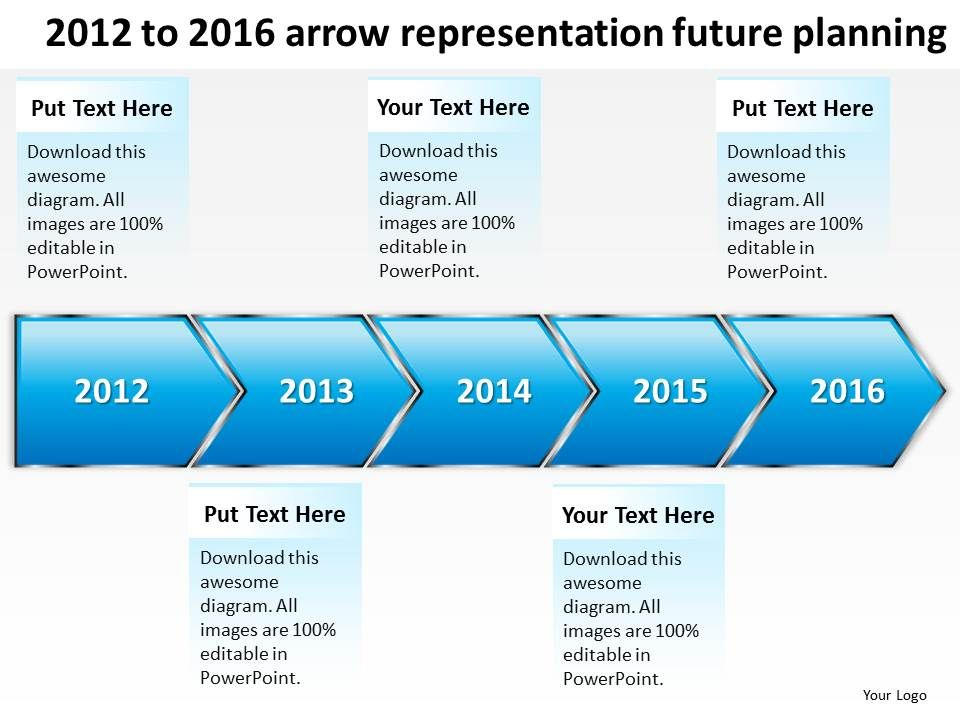 Product roadmap timeline 2012 to 2016 arrow representation future productroadmaptimeline2012to2016arrowrepresentationfutureplanningpowerpointtemplatesslidesslide01 toneelgroepblik Gallery