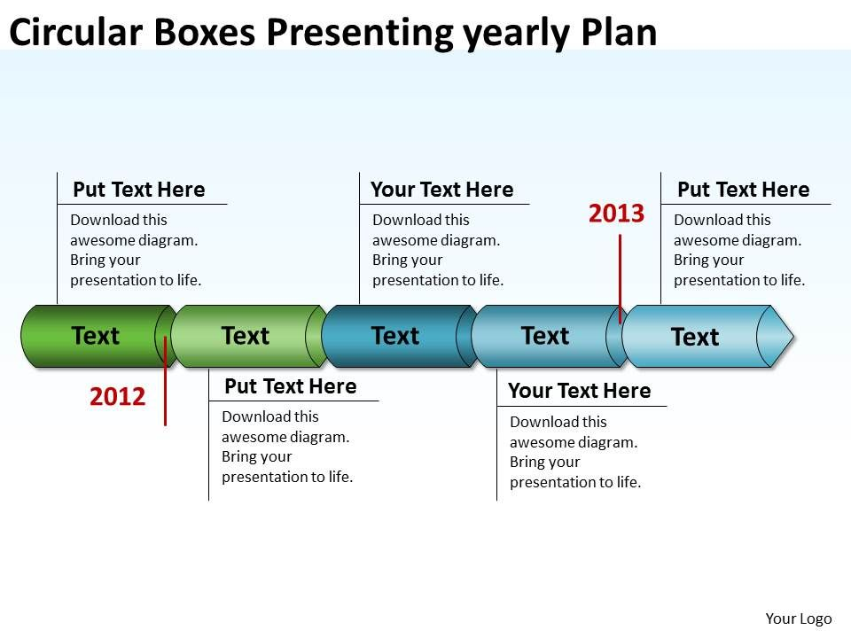product roadmap timeline circular boxes presenting yearly