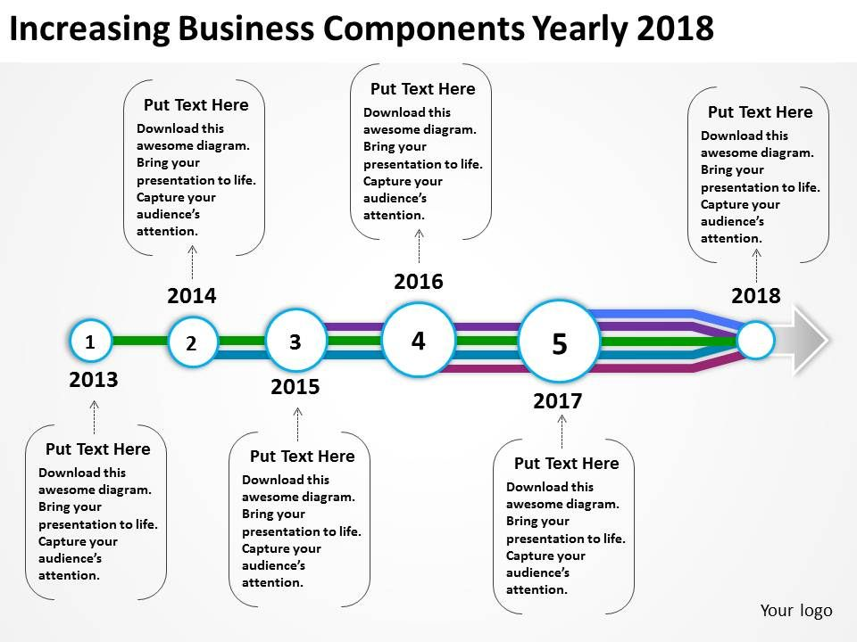 Product Roadmap Timeline Increasing Business Components Yearly - Business timeline template