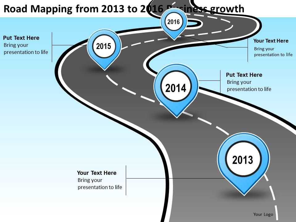 product roadmap timeline road mapping from 2013 to 2016 business growth powerpoint templates. Black Bedroom Furniture Sets. Home Design Ideas