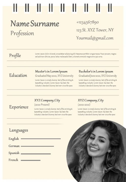 Professional Cv Example Format With Hobbies And Interest Presentation Graphics Presentation Powerpoint Example Slide Templates