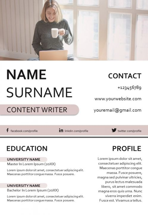 Professional CV Format For Content Writer