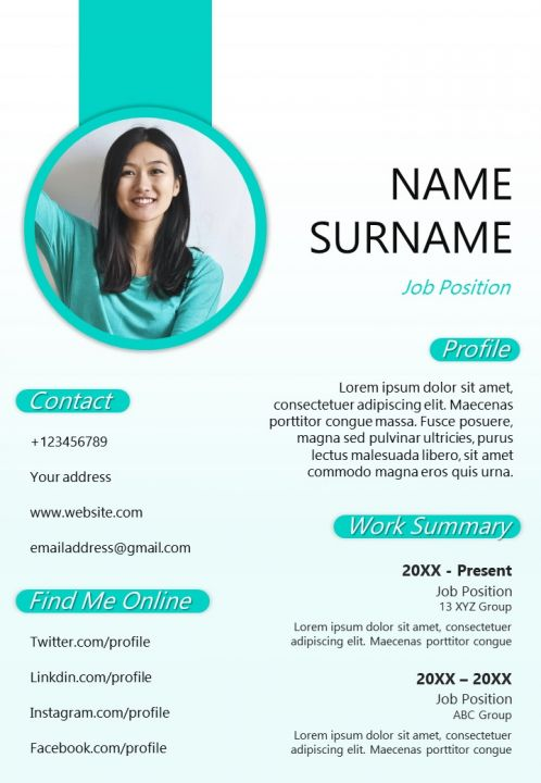 Professional Cv Sample Design Editable A4 Resume Template Powerpoint Slides Diagrams Themes For Ppt Presentations Graphic Ideas