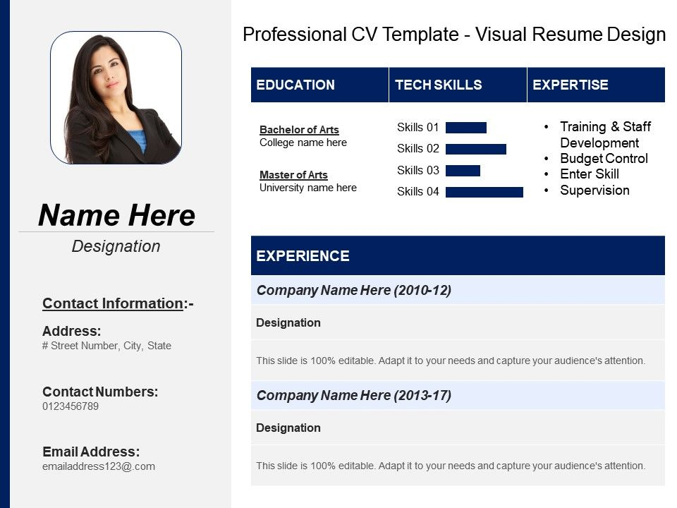 Professional Cv Template Visual Resume Design | PowerPoint ...