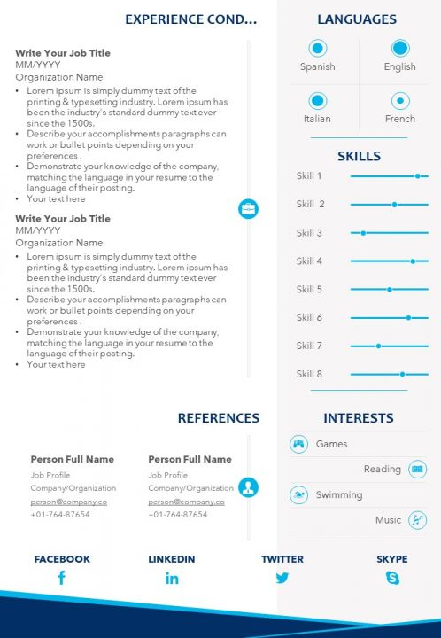 Professional Cv Template With Educational Details And Professional Skills Powerpoint Templates Download Ppt Background Template Graphics Presentation
