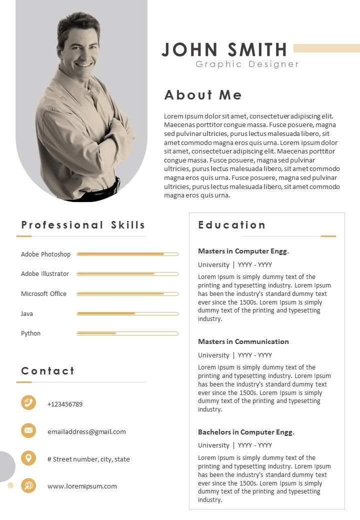 Professional Resume Format With Professional Skills Powerpoint