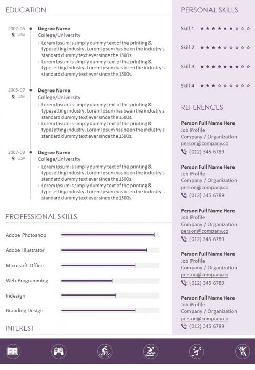 Professional Resume Summary Statement Template Powerpoint