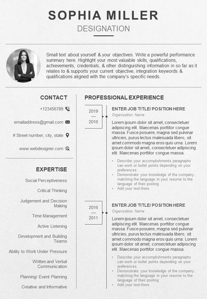 Professional Resume Template With Career Summary Powerpoint Presentation Templates Ppt Template Themes Powerpoint Presentation Portfolio