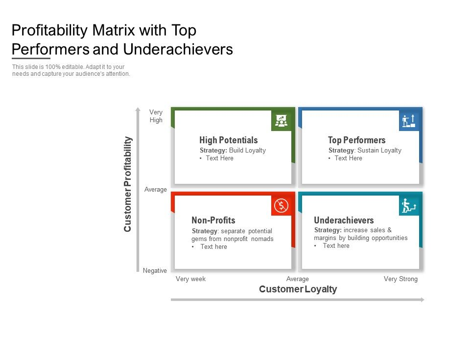 Profitability Matrix With Top Performers And Underachievers