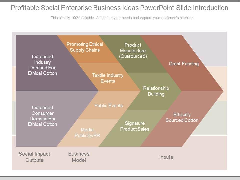 Profitable Social Enterprise Business Ideas Powerpoint Slide