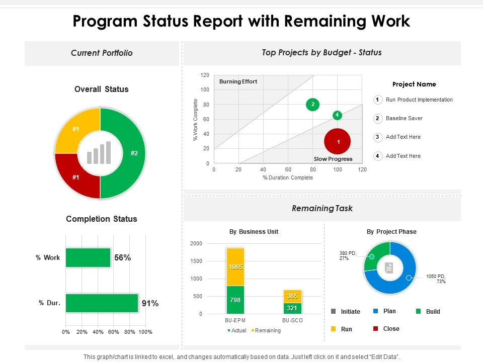 Program Status Report With Remaining Work