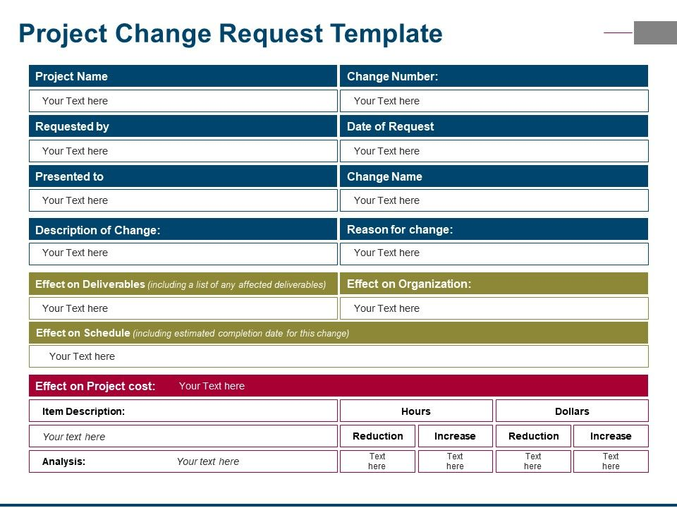 Project Change Request Template Ppt Examples Slides