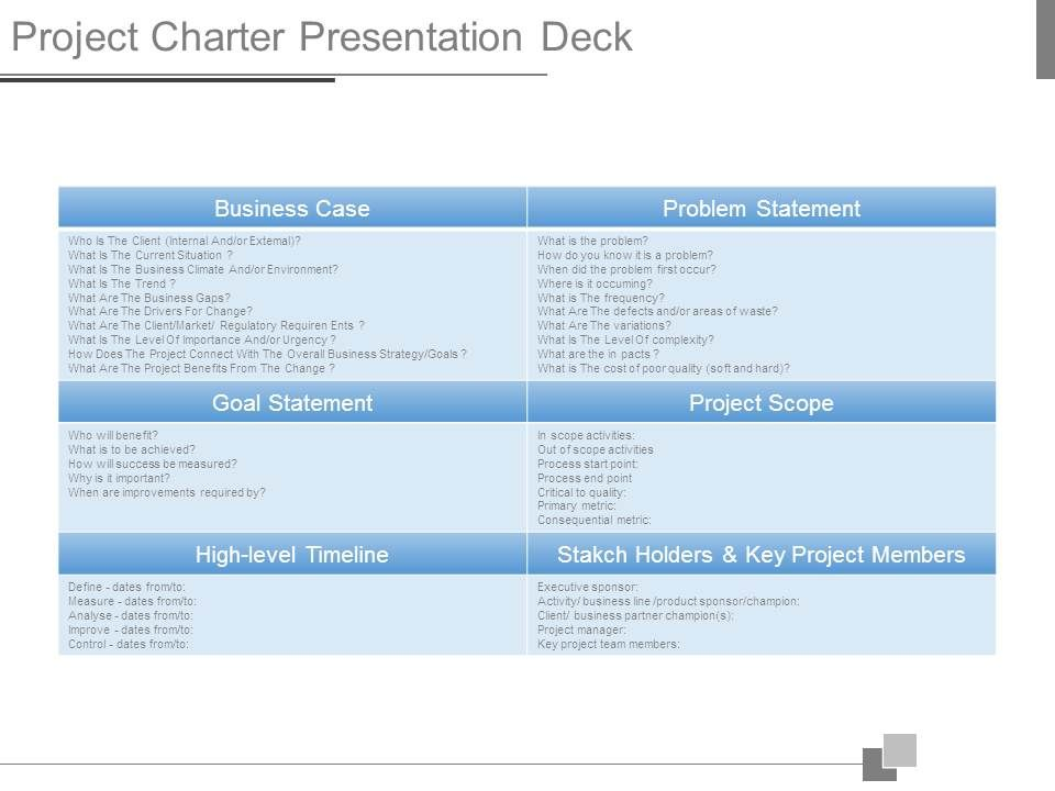 project charter presentation deck | powerpoint presentation, Presentation templates