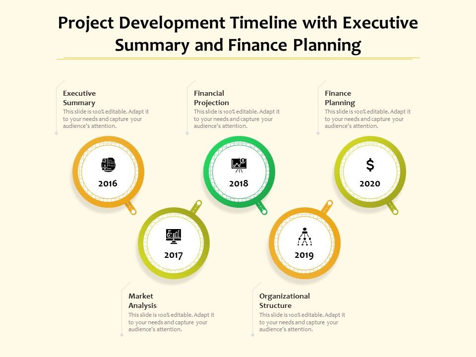 Project Development Timeline With Executive Summary And Finance Planning