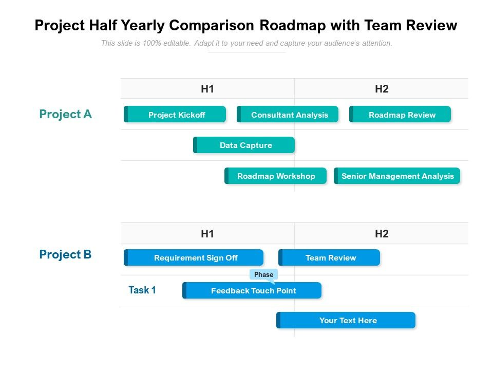Project Half Yearly Comparison Roadmap With Team Review