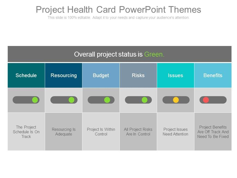 project health card powerpoint themes | templates powerpoint, Modern powerpoint