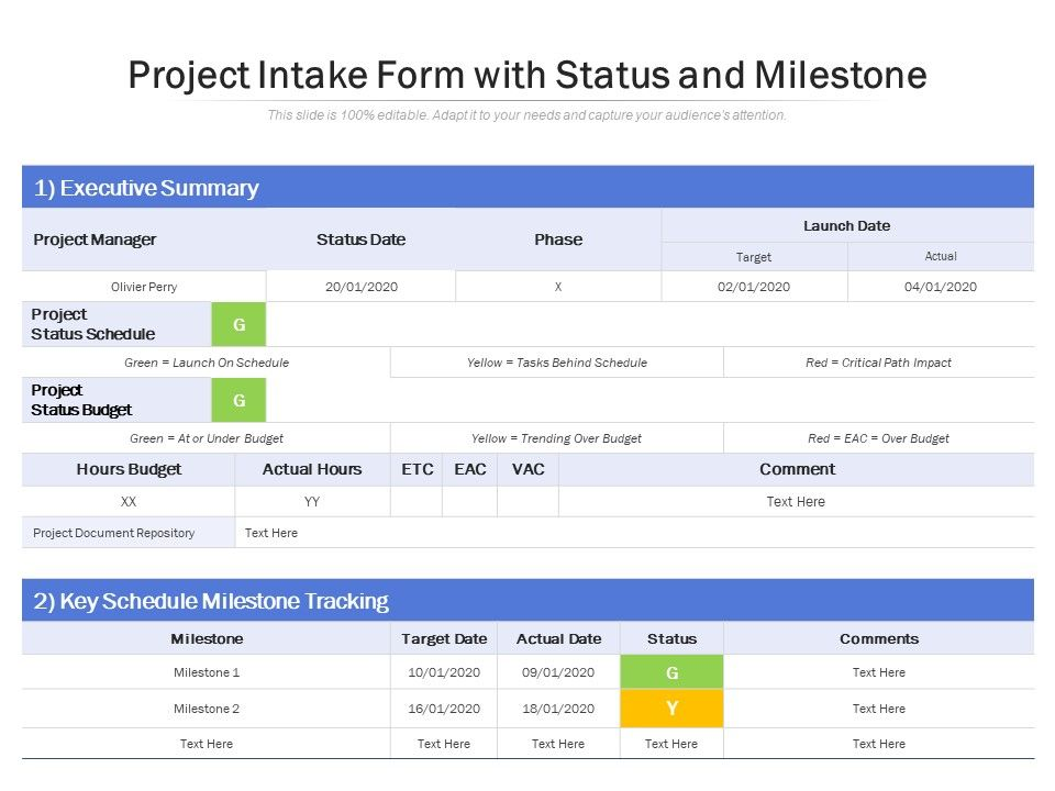 Project Intake Form With Status And Milestone