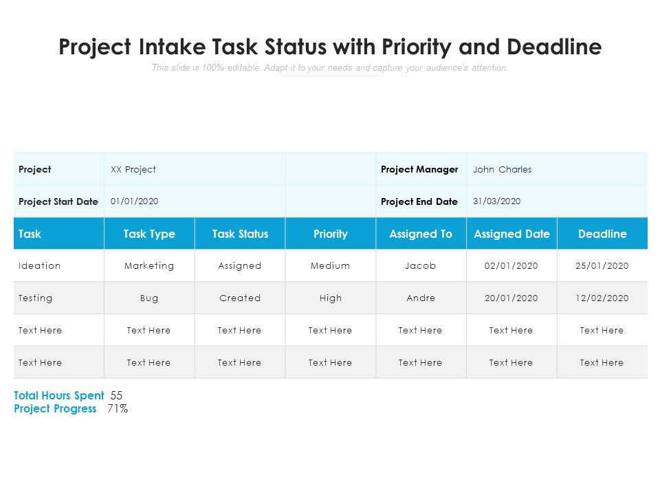 Project Intake Task Status With Priority And Deadline
