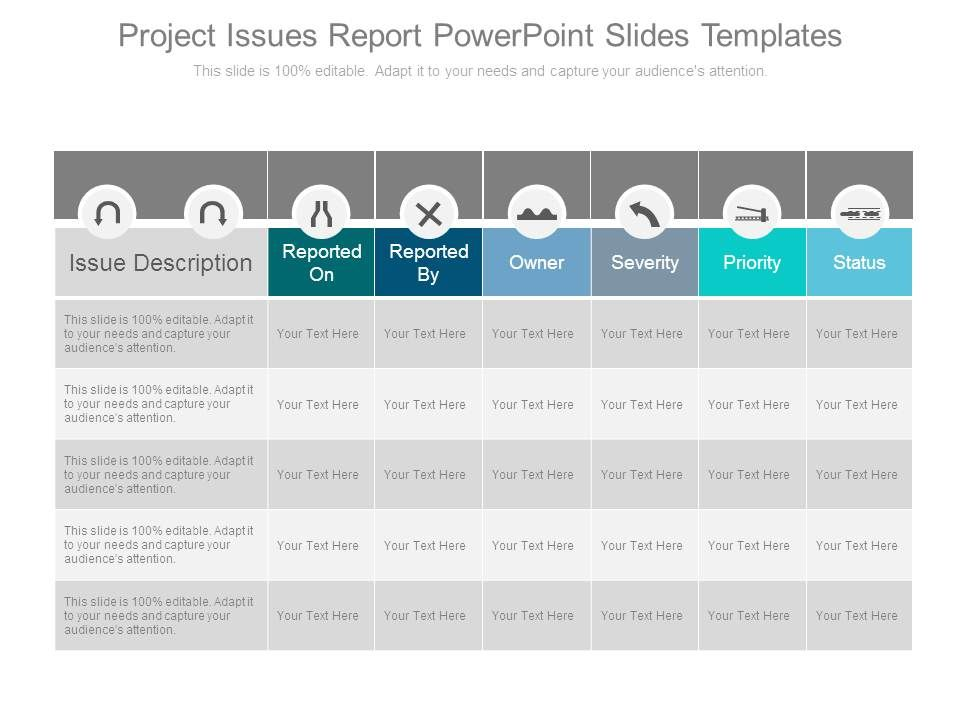 Project Issues Report Powerpoint Slides Templates