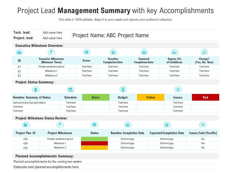 Project Lead Management Summary With Key Accomplishments