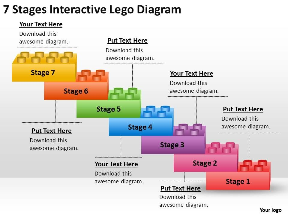 Project Management 7 Stages Interactive Lego Diagram Powerpoint