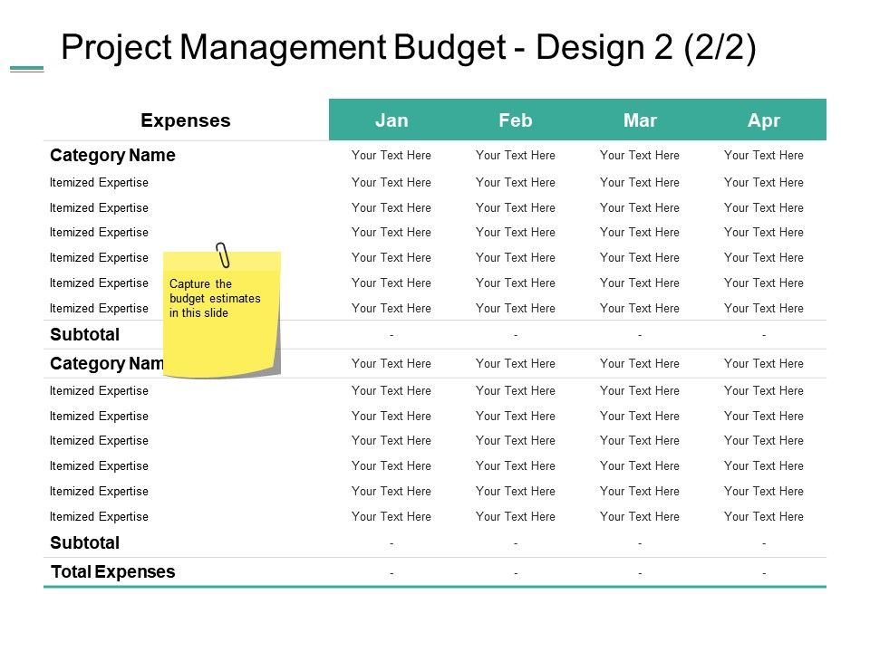 Project Management Budget Design Expenses Ppt Summary Example