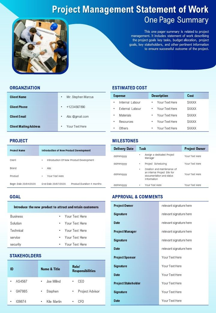 Project Management Statement Of Work One Page Summary ...