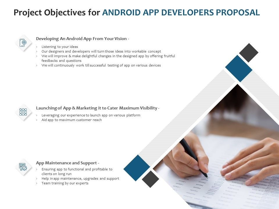 Project Objectives For Android App Developers Proposal Ppt