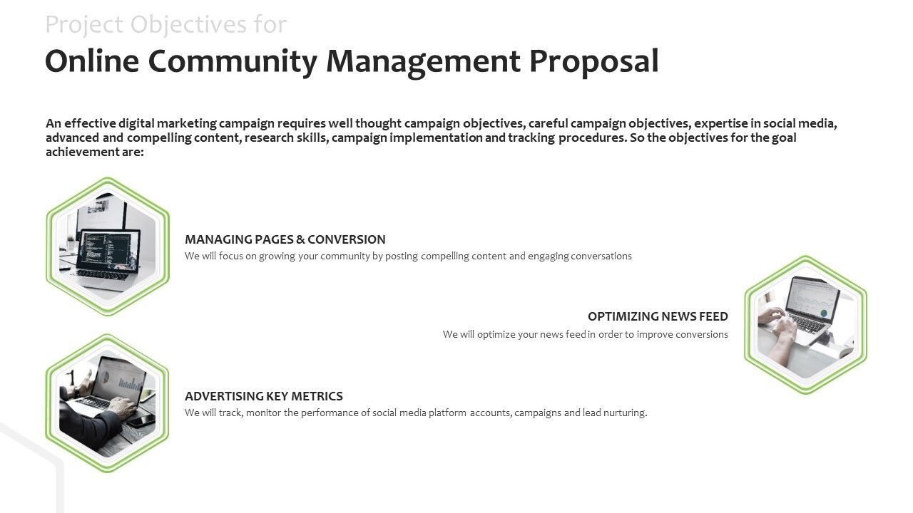 Project Objectives For Online Community Management Proposal Optimizing Ppt Slides