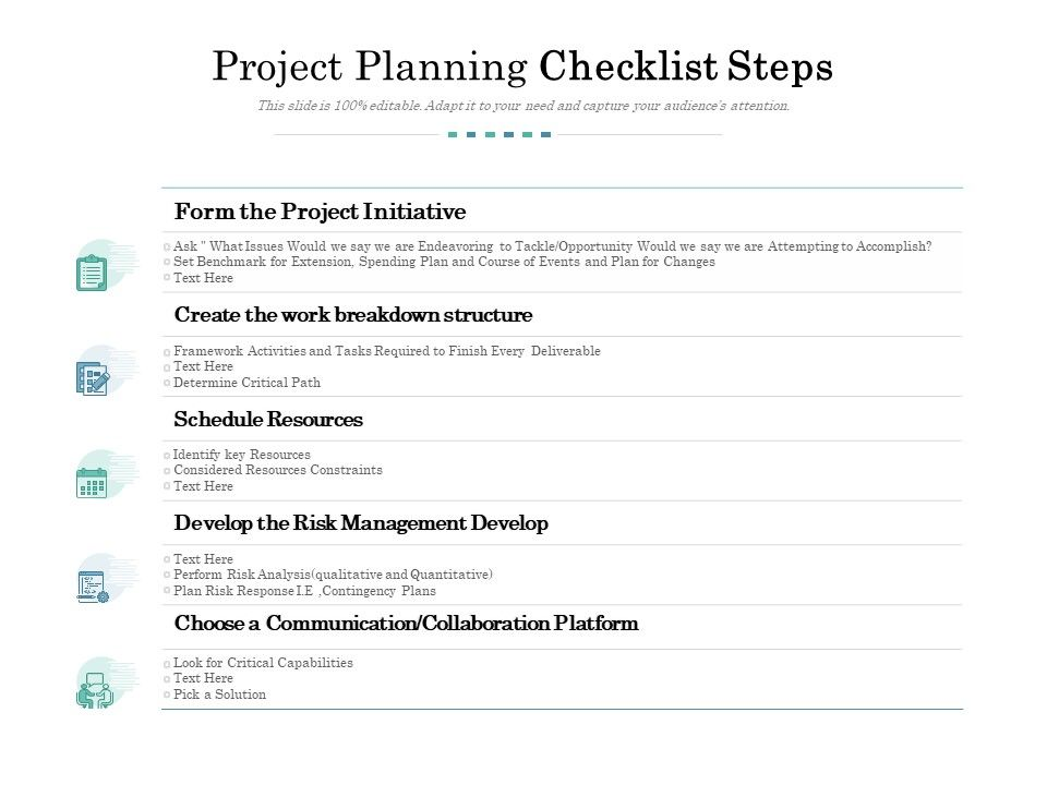 Project Planning Checklist Steps Powerpoint Templates Download Ppt Background Template Graphics Presentation