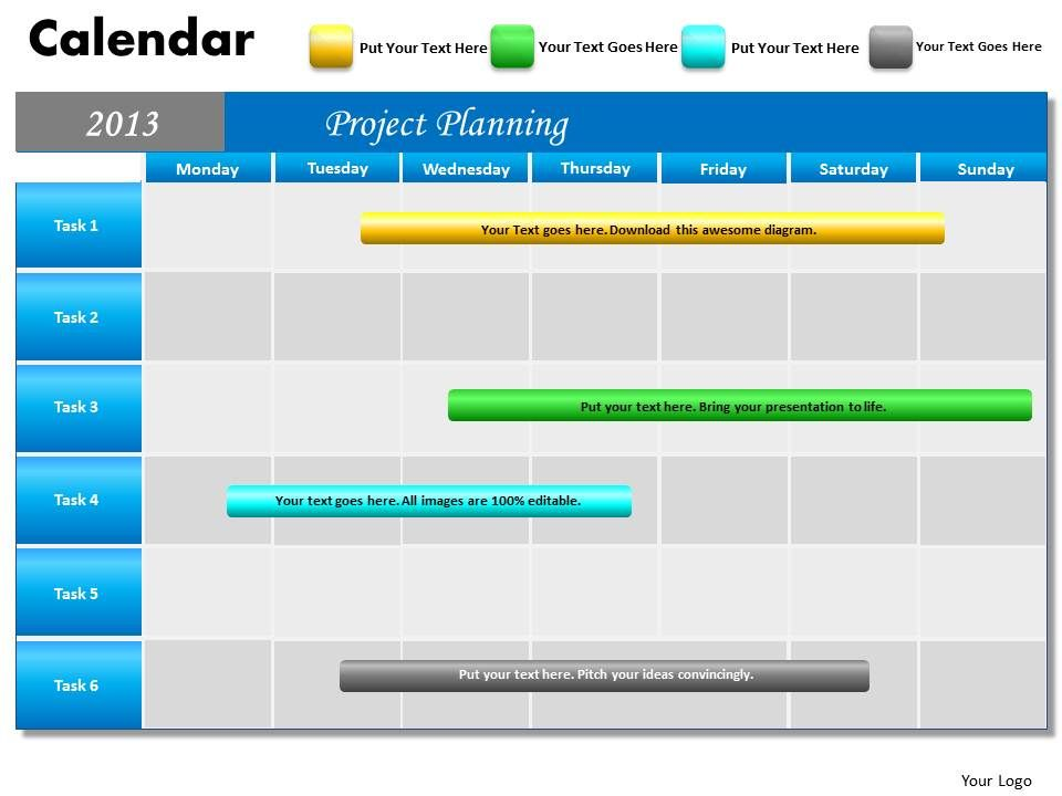 Project Planning Gantt Chart 2013 Calendar PowerPoint Slides PPT ...