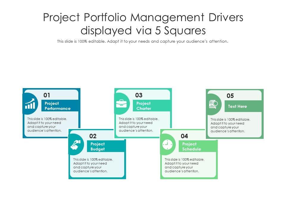 Project Portfolio Management Drivers Displayed Via 5 Squares