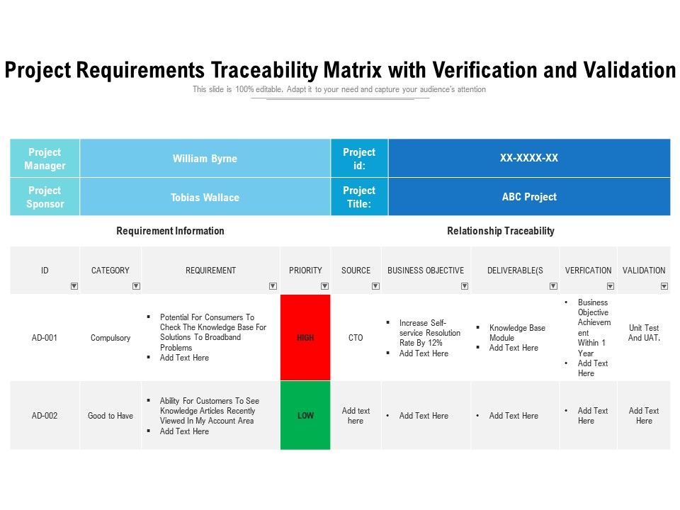 Project Requirements Traceability Matrix With Verification And Validation Powerpoint Slides Diagrams Themes For Ppt Presentations Graphic Ideas