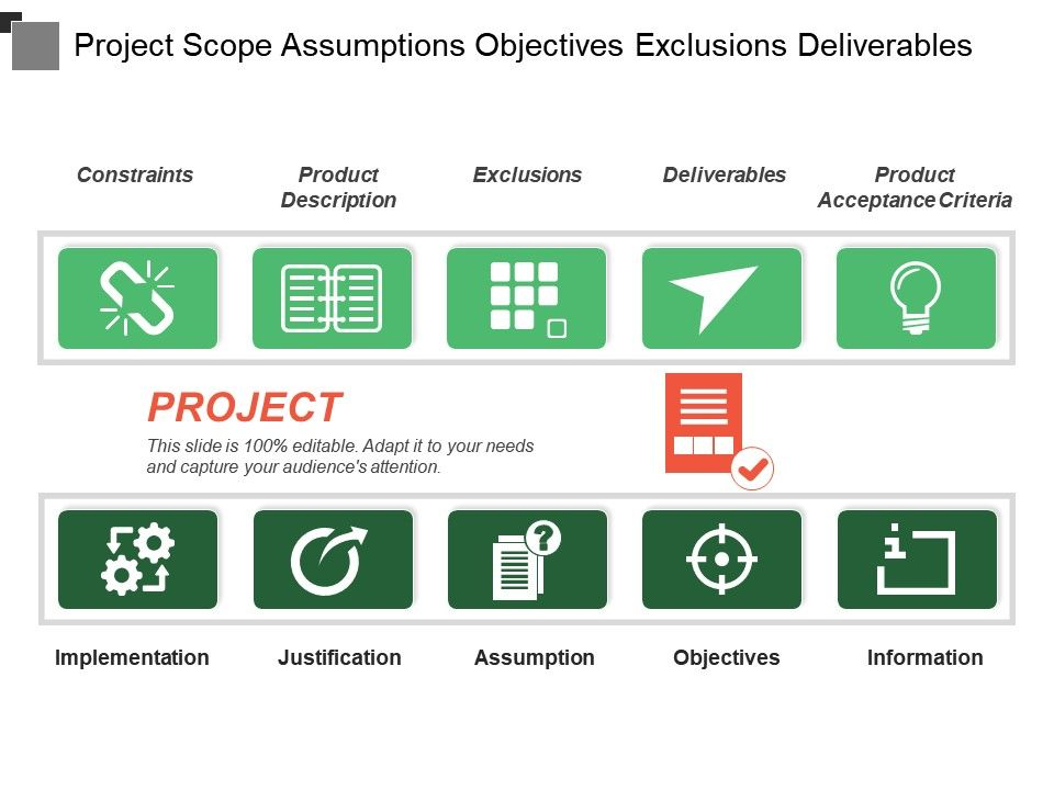 project_scope_assumptions_objectives_exclusions_deliverables_Slide01