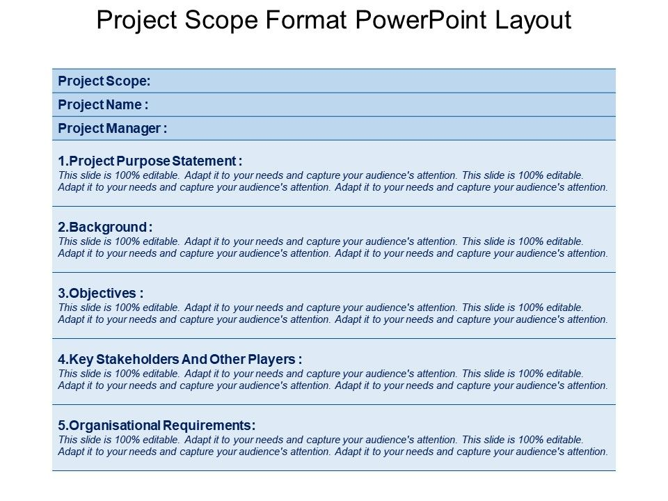 format of presentation of project