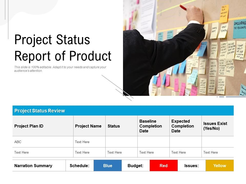 Project Status Report Of Product