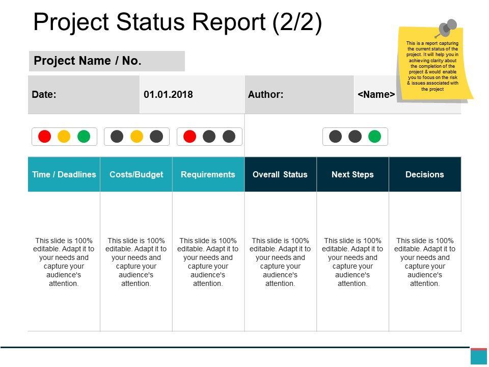 Project Status Report Powerpoint Slide Deck Templates Powerpoint