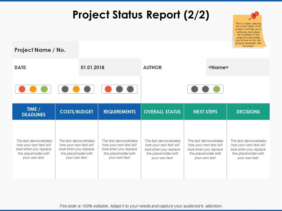 Project Status Report Requirements Ppt Powerpoint Presentation Icon