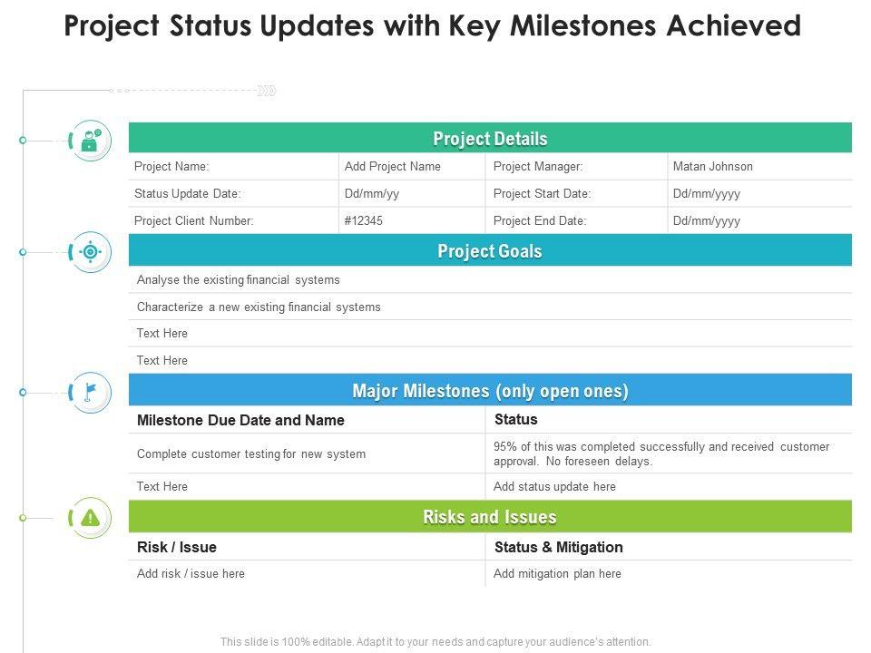 Project Status Updates With Key Milestones Achieved