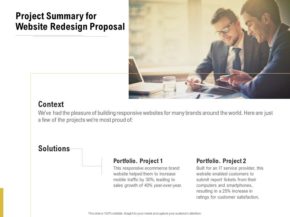 Project Summary For Website Redesign Proposal Ppt Powerpoint Presentation Layouts