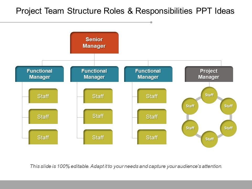 project team structure roles and responsibilities ppt ideas, Powerpoint templates