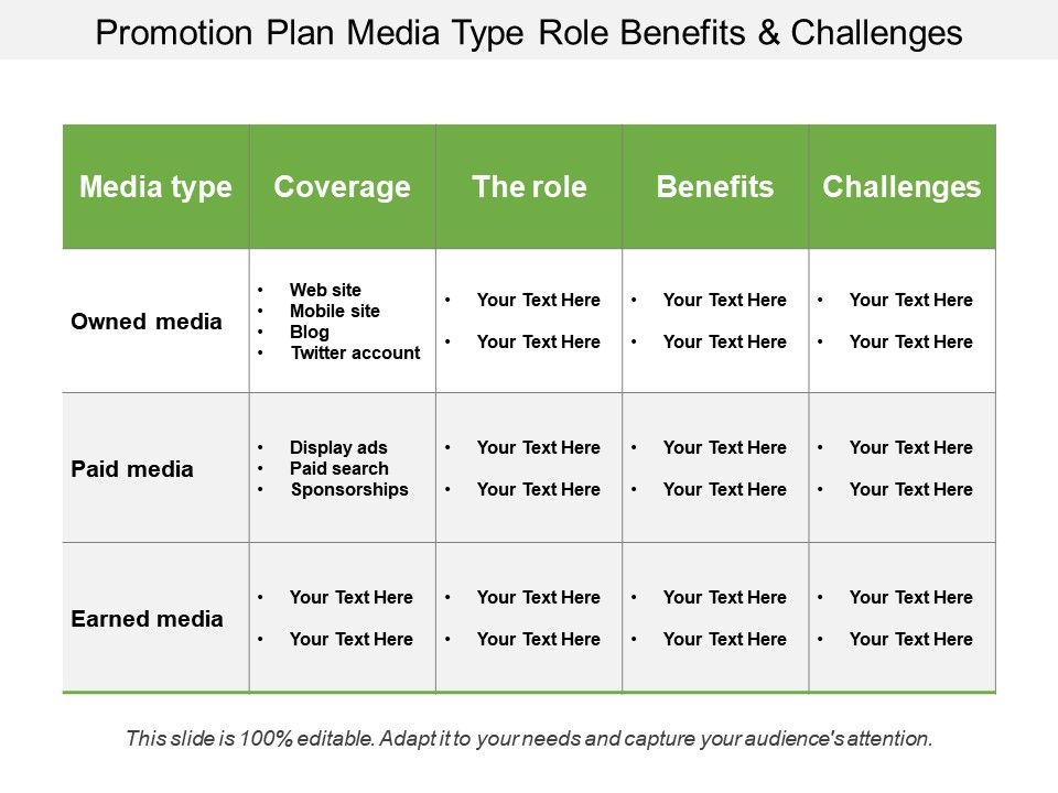 promotion_plan_media_type_role_benefits_and_challenges_Slide01