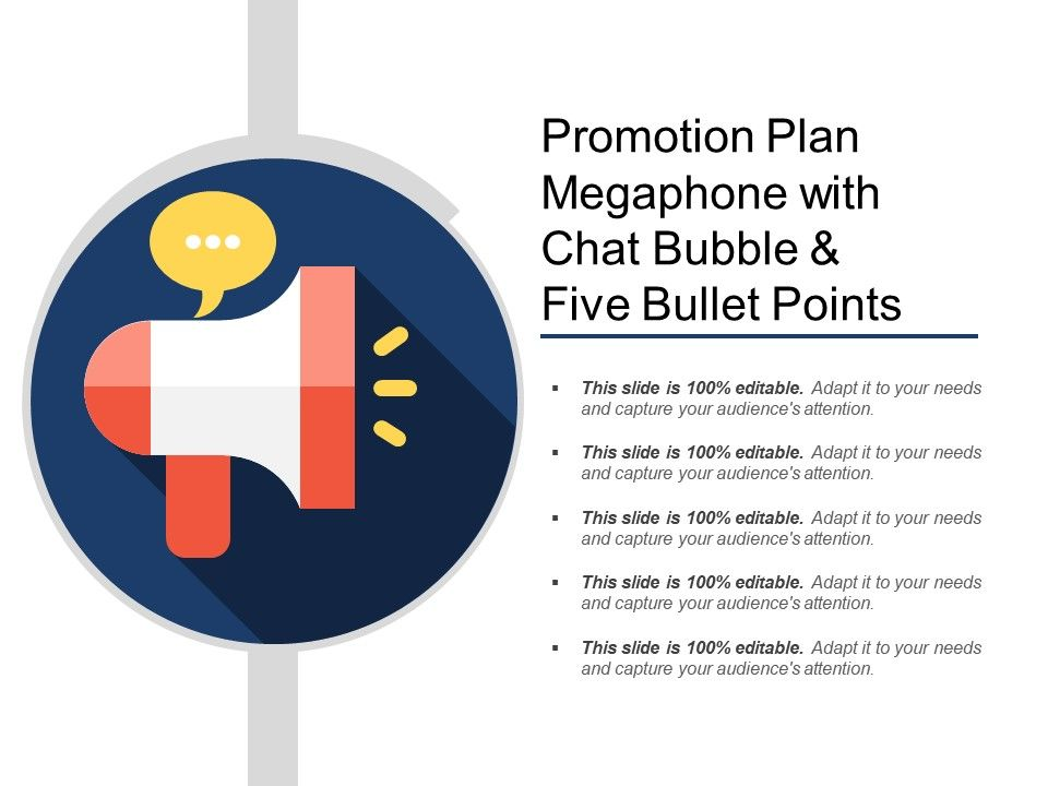 promotion_plan_megaphone_with_chat_bubble_and_five_bullet_points_Slide01